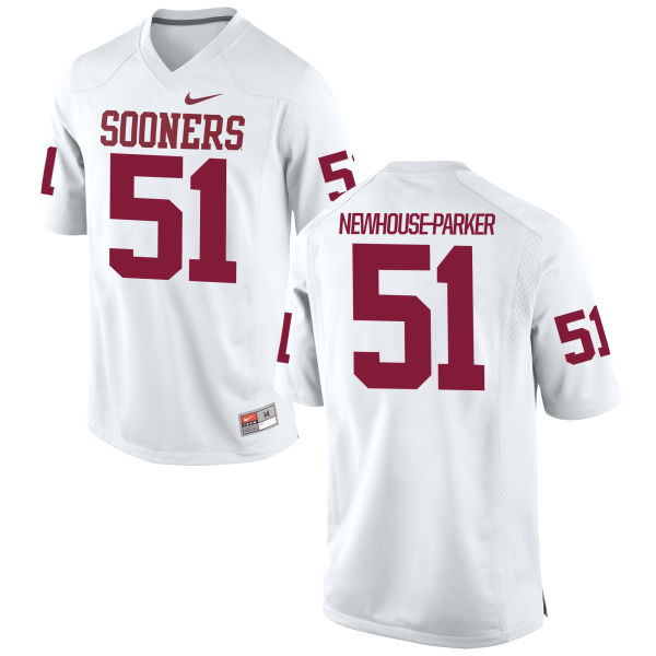 Men's Nike Cade Newhouse-Parker Oklahoma Sooners Game White Football Jersey