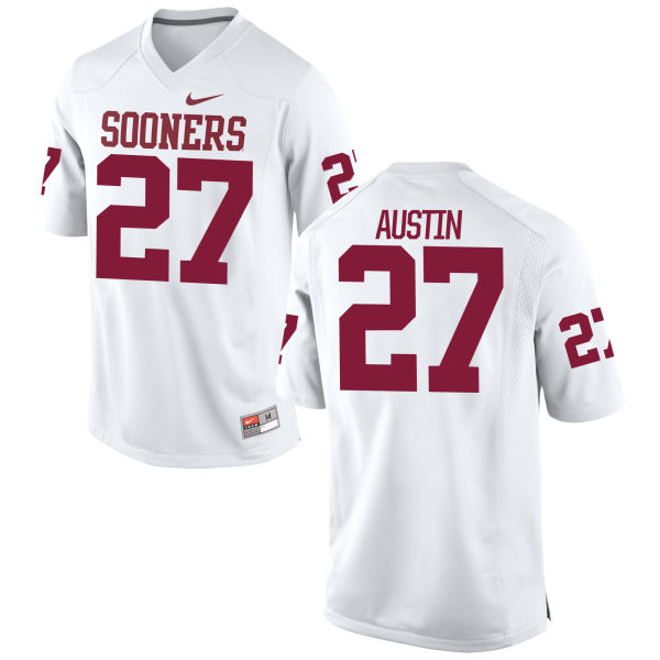 Men's Nike Dakota Austin Oklahoma Sooners Game White Football Jersey
