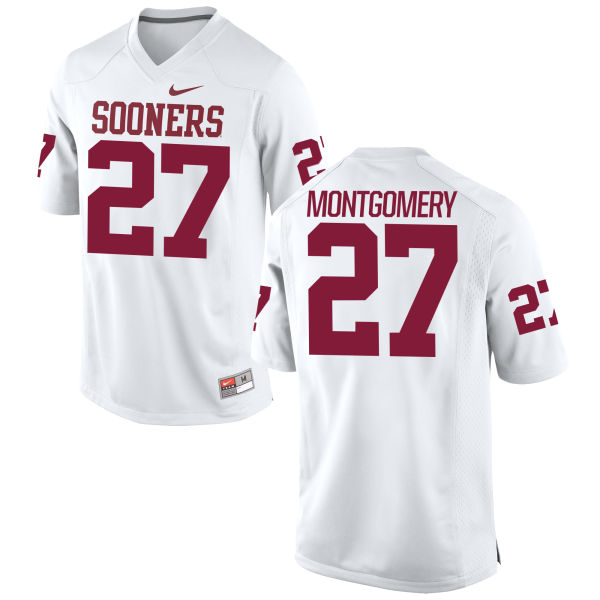 Youth Nike Devin Montgomery Oklahoma Sooners Game White Football Jersey