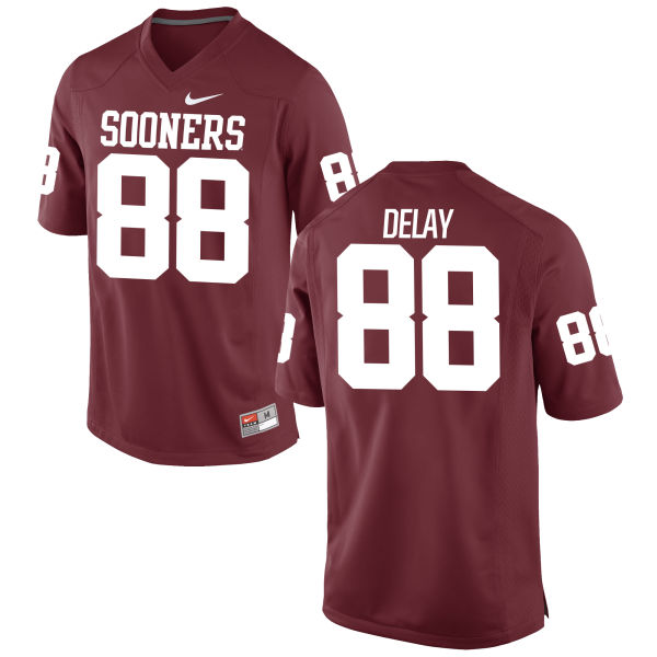 Men's Nike Eric DeLay Oklahoma Sooners Game Crimson Football Jersey