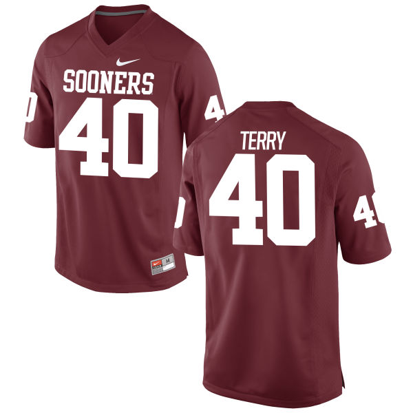Men's Nike Jon-Michael Terry Oklahoma Sooners Game Crimson Football Jersey
