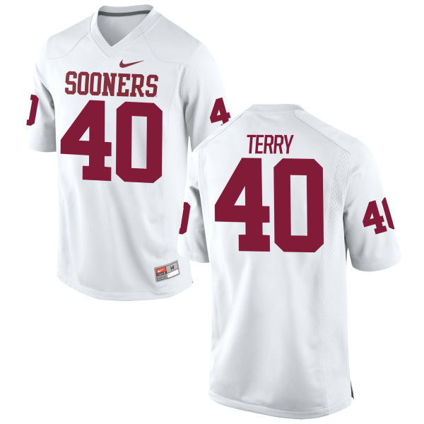 Men's Nike Jon-Michael Terry Oklahoma Sooners Game White Football Jersey