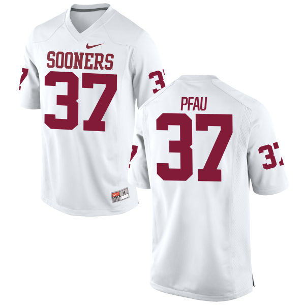 Men's Nike Kyle Pfau Oklahoma Sooners Replica White Football Jersey