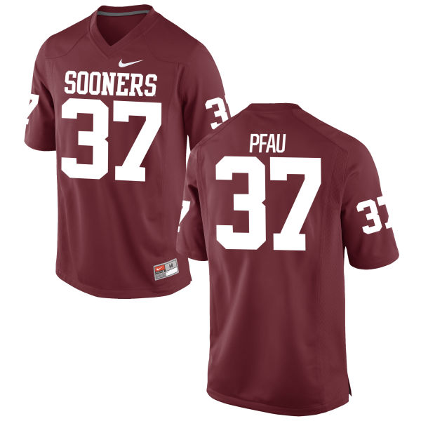 Men's Nike Kyle Pfau Oklahoma Sooners Game Crimson Football Jersey