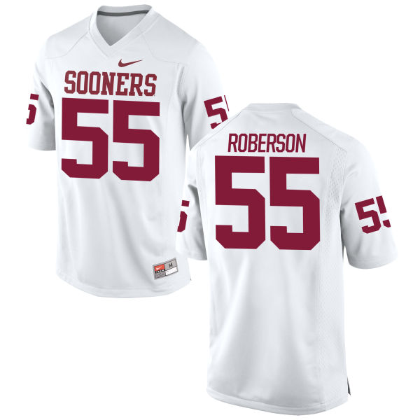 Men's Nike Logan Roberson Oklahoma Sooners Game White Football Jersey
