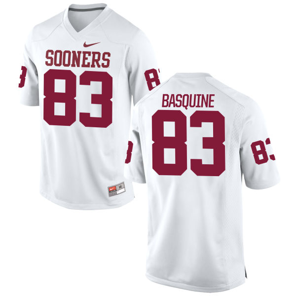 Men's Nike Nick Basquine Oklahoma Sooners Game White Football Jersey