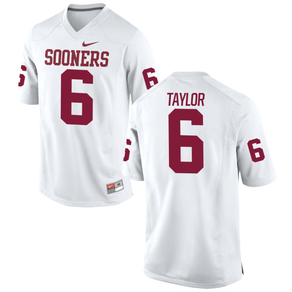 Men's Nike Stanvon Taylor Oklahoma Sooners Game White Football Jersey
