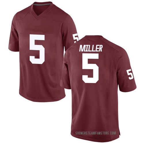 Men's A.D. Miller Oklahoma Sooners Game Crimson Football College Jersey