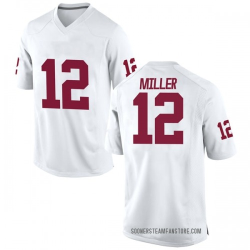 Men's Nike A.D. Miller Oklahoma Sooners Game White Football College Jersey