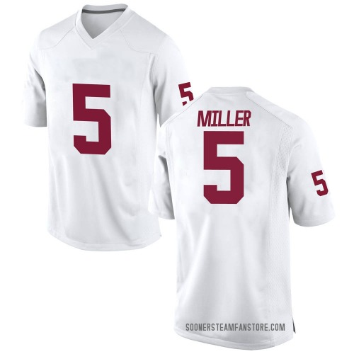 Men's A.D. Miller Oklahoma Sooners Game White Football College Jersey