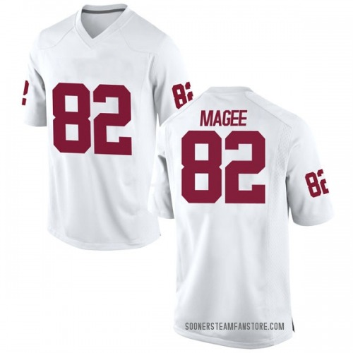 Men's Nike Andrew Magee Oklahoma Sooners Game White Football College Jersey