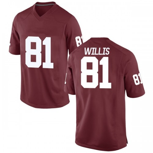 Men's Nike Brayden Willis Oklahoma Sooners Game Crimson Football College Jersey