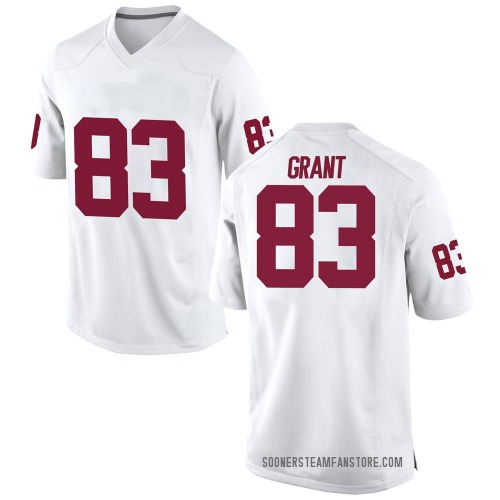 Men's Nike Cason Grant Oklahoma Sooners Game White Football College Jersey