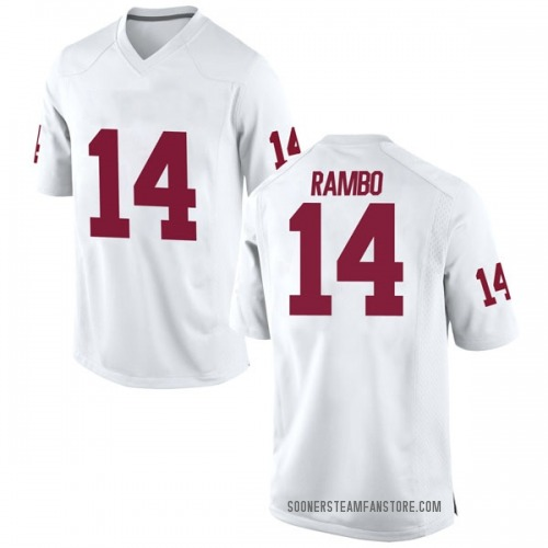Men's Nike Charleston Rambo Oklahoma Sooners Game White Football College Jersey