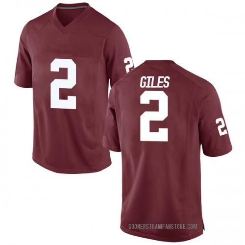 Men's Nike Chris Giles Oklahoma Sooners Game Crimson Football College Jersey