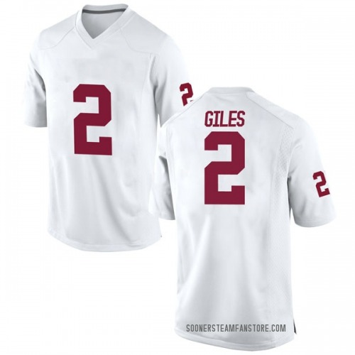 Men's Nike Chris Giles Oklahoma Sooners Game White Football College Jersey