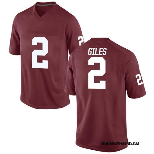 Men's Nike Chris Giles Oklahoma Sooners Replica Crimson Football College Jersey