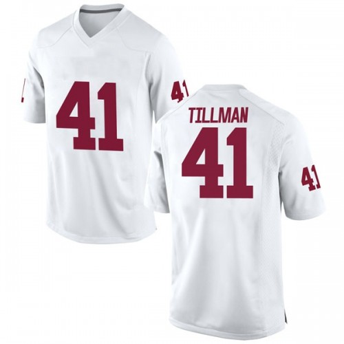 Men's Nike Coby Tillman Oklahoma Sooners Game White Football College Jersey