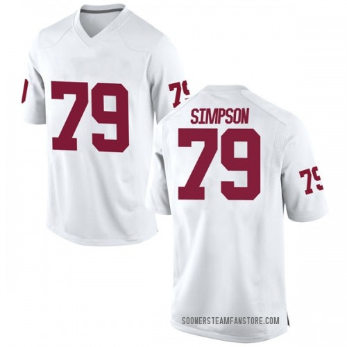 Men's Nike Darrell Simpson Oklahoma Sooners Game White Football College Jersey