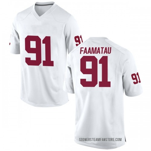Men's Nike Dillon Faamatau Oklahoma Sooners Replica White Football College Jersey