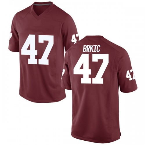 Men's Nike Gabe Brkic Oklahoma Sooners Game Crimson Football College Jersey