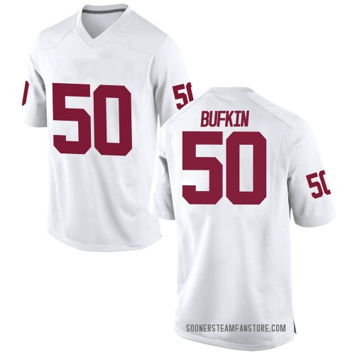 Men's Nike Hayes Bufkin Oklahoma Sooners Replica White Football College Jersey
