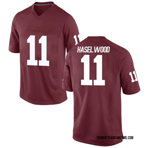 Men's Nike Jadon Haselwood Oklahoma Sooners Game Crimson Football College Jersey