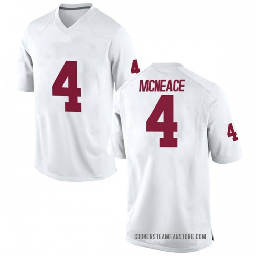 Men's Nike Jamuni McNeace Oklahoma Sooners Replica White Football College Jersey