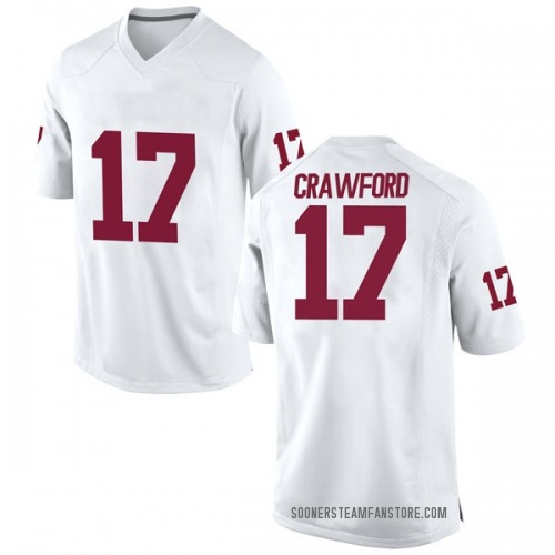 Men's Nike Jaquayln Crawford Oklahoma Sooners Game White Football College Jersey