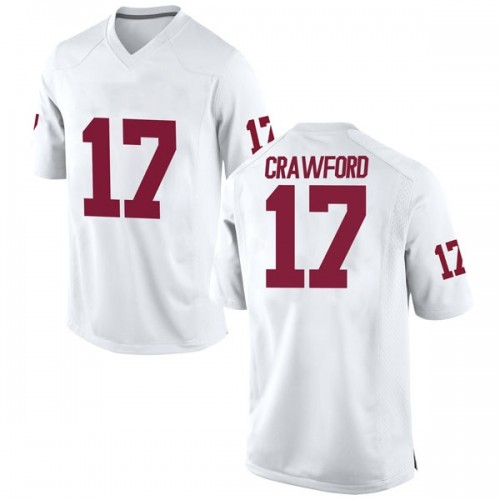 Men's Nike Jaquayln Crawford Oklahoma Sooners Replica White Football College Jersey