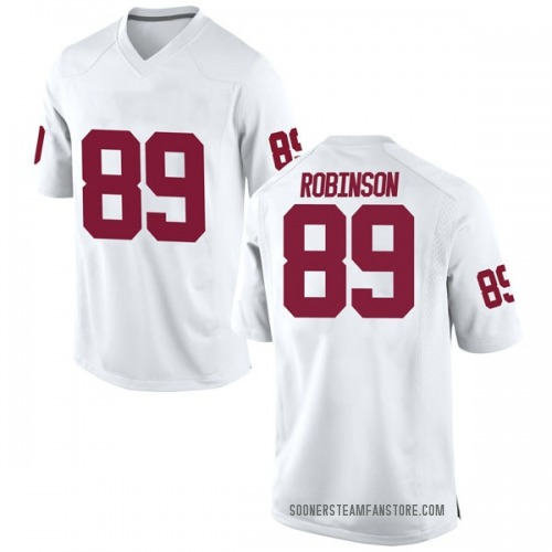 Men's Nike Jaylon Robinson Oklahoma Sooners Game White Football College Jersey