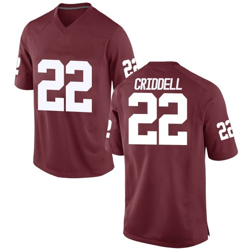 Men's Nike Jeremiah Criddell Oklahoma Sooners Game Crimson Football College Jersey