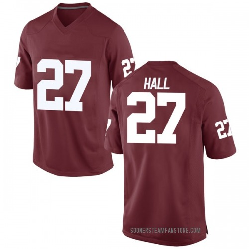Men's Nike Jeremiah Hall Oklahoma Sooners Game Crimson Football College Jersey