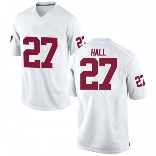 Men's Nike Jeremiah Hall Oklahoma Sooners Game White Football College Jersey