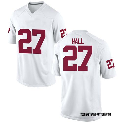 Men's Nike Jeremiah Hall Oklahoma Sooners Game White Football College Jersey