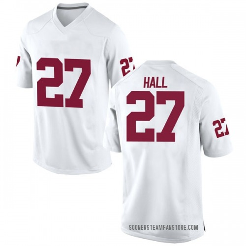 Men's Nike Jeremiah Hall Oklahoma Sooners Replica White Football College Jersey