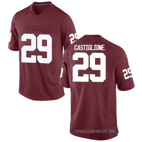 Men's Nike Joe Castiglione Jr. Oklahoma Sooners Game Crimson Football College Jersey