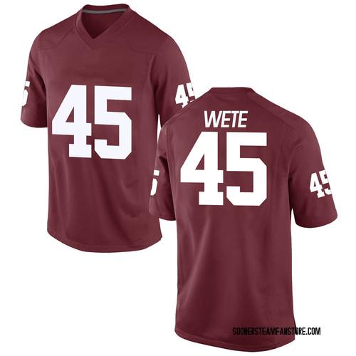 Men's Nike Joseph Wete Oklahoma Sooners Game Crimson Football College Jersey