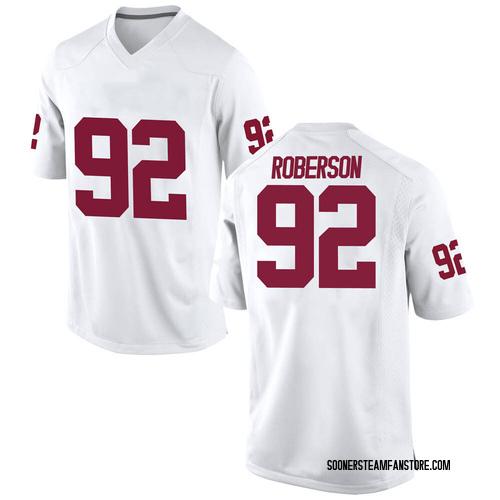 Men's Nike Kori Roberson Oklahoma Sooners Game White Football College Jersey