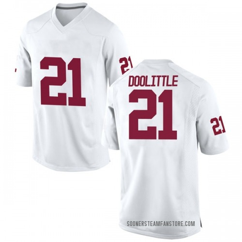 Men's Nike Kristian Doolittle Oklahoma Sooners Replica White Football College Jersey