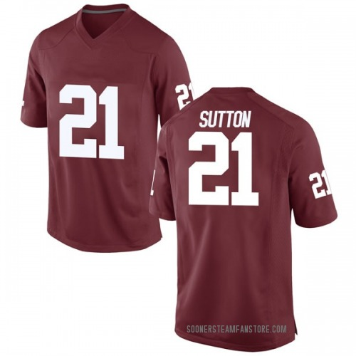 Men's Nike Marcelias Sutton Oklahoma Sooners Game Crimson Football College Jersey
