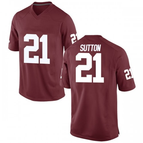 Men's Nike Marcelias Sutton Oklahoma Sooners Replica Crimson Football College Jersey