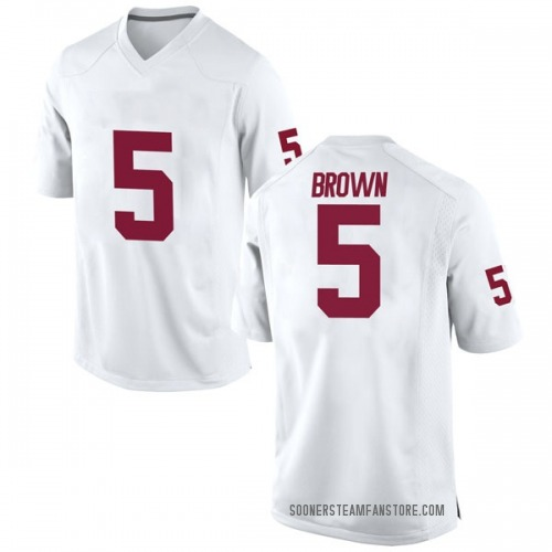 Men's Nike Marquise Brown Oklahoma Sooners Game White Football College Jersey