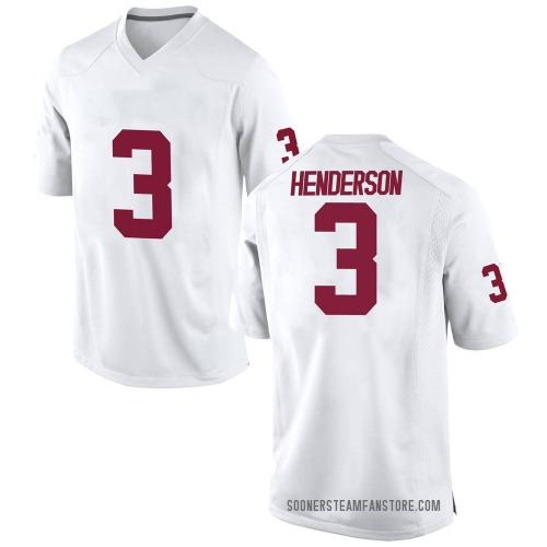 Men's Nike Mikey Henderson Oklahoma Sooners Game White Football College Jersey