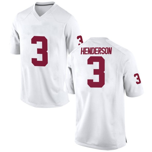 Men's Nike Mikey Henderson Oklahoma Sooners Replica White Football College Jersey