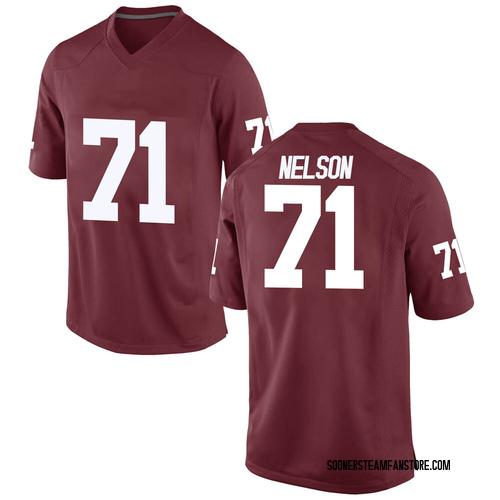 Men's Nike Noah Nelson Oklahoma Sooners Game Crimson Football College Jersey