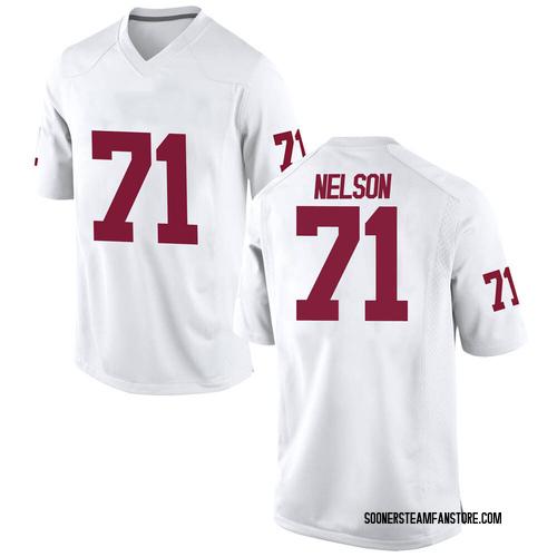 Men's Nike Noah Nelson Oklahoma Sooners Replica White Football College Jersey