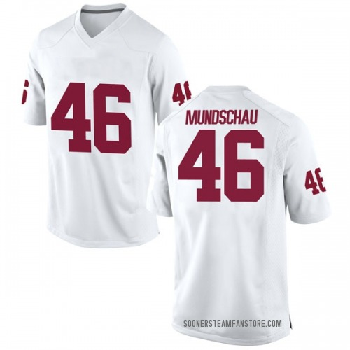 Men's Nike Reeves Mundschau Oklahoma Sooners Replica White Football College Jersey