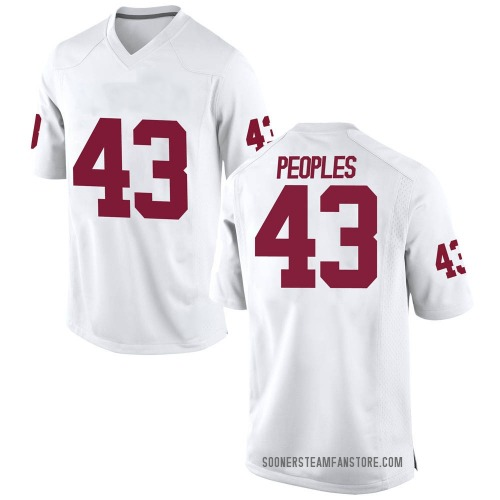 Men's Nike Ryan Peoples Oklahoma Sooners Replica White Football College Jersey