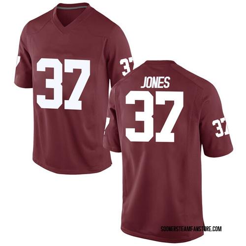 Men's Nike Spencer Jones Oklahoma Sooners Game Crimson Football College Jersey